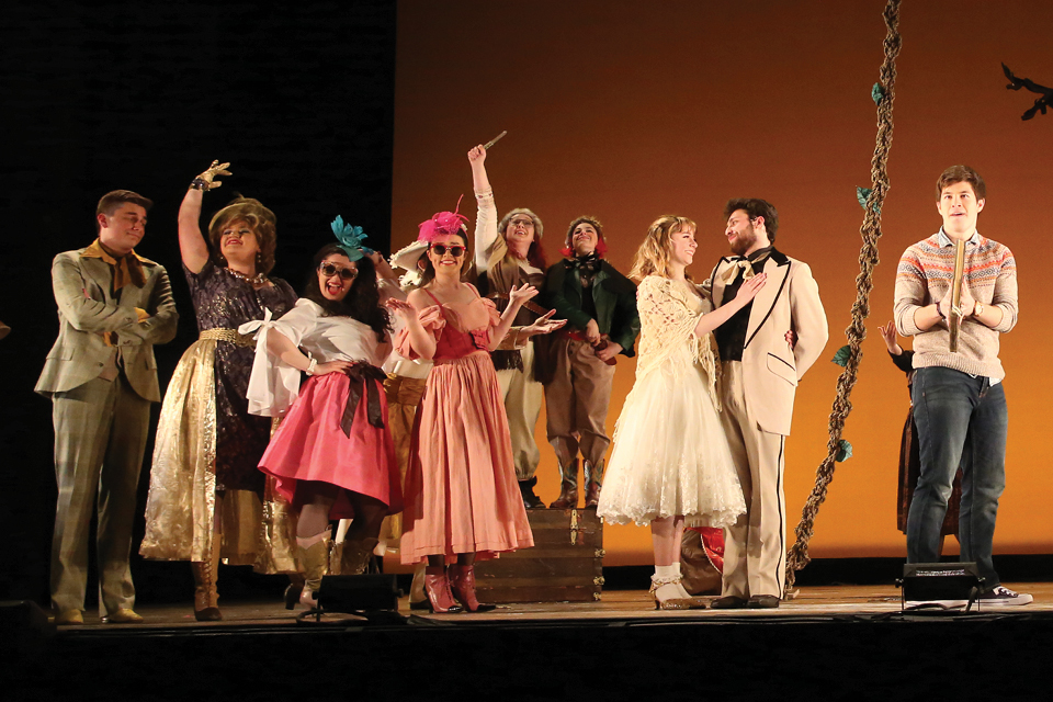 A group of actors on stage during Into the Woods